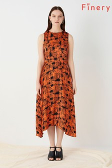 Finery London Orange Ashley Printed Dress
