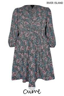 River Island Plus Navy Floral Mini Wrap Dress