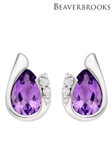 Beaverbrooks 9ct White Gold Diamond Amethyst Stud Earrings