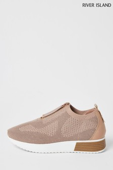 River Island Pink Light Zip Front Runner Trainers