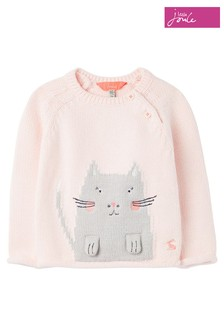 Joules Pink Beau Artwork Knitted Jumper