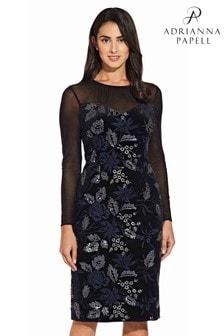 Adrianna Papell Black Embroidered Velvet Dress
