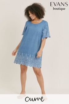 Evans Blue Curve Chambray Embroidered Tunic