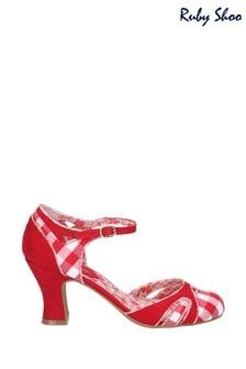 Ruby Shoo Red Jeraldine Open Waist Bar Buckle Shoes
