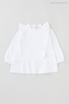 Angel & Rocket White Ruffle Smock Blouse