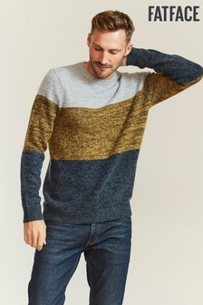 FatFace Yellow Lewes Colourblock Crew Jumper