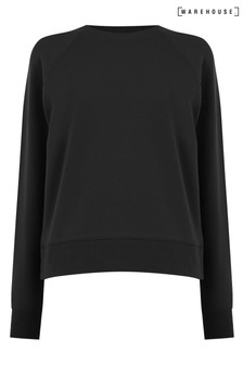 Warehouse Black Boxy Cropped Sweatshirt