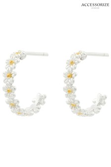 Accessorize Sterling Silver Daisy Hoop Earrings