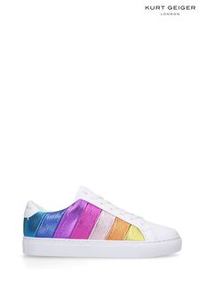 Kurt Geiger Ladies Lane Stripe White Leather Trainers