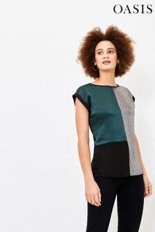Oasis T-Shirt mit Farbblockdesign und Foliendetail, Grün