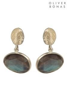Oliver Bonas Grey Lumi Textured Oval & Stone Gold Tone Earrings