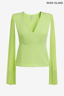 River Island Lime Amelia Pleat Sleeve Top