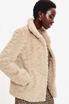 Oasis Natural Textured Faux Fur Coat
