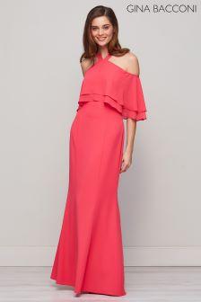Gina Bacconi Pink Carys Crepe And Chiffon Maxi Dress