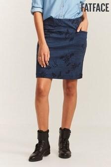 FatFace Blue Jennie Tonal Jacquard Skirt