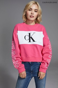 Calvin Klein Jeans Blocking Statement Cropped Sweatshirt