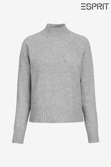 Esprit Grey Cozy Raglan Sweater With Turtle Neck