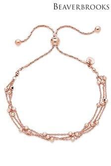 Beaverbrooks Silver Rose Gold Plated Triple Strand Bracelet