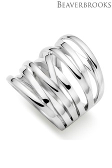 Beaverbrooks Silver Wide Strand Ring