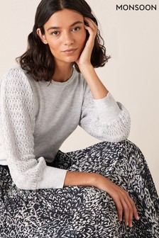 Monsoon Grey Pointelle Puff Sleeve Jumper
