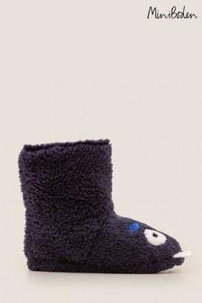 Boden Navy Monster Slipper Boots