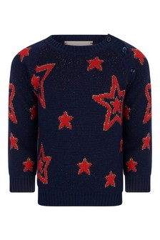 Baby Girls Navy Wool Knitted Stars Jumper