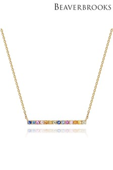 Beaverbrooks 9ct Gold Multicoloured Sapphire Necklace