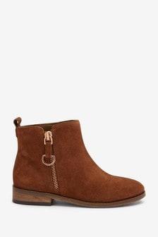 Suede Zip Chelsea Boots