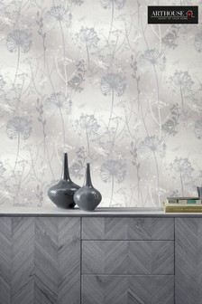 Arthouse Silver Damselfly Floral Wallpaper