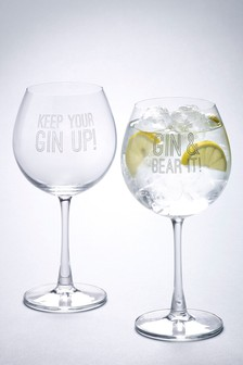 Set of 2 Slogan Gin Glasses
