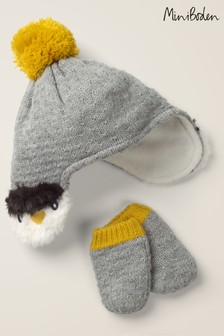 Boden Grey Knitted Hat And Mittens Set