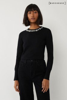 Warehouse Black Pearl Embellished Neck Jumper