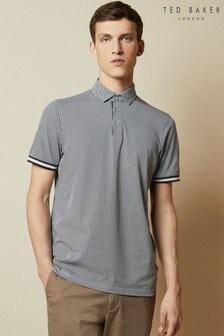 Ted Baker Black Islanda Textured Cotton Poloshirt