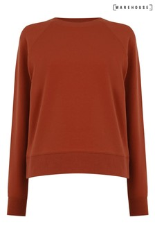 Warehouse Brown Boxy Cropped Sweatshirt
