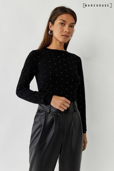 Warehouse Black Diamanté Embellished Jumper