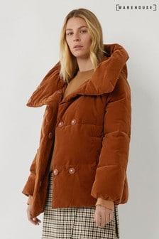 Warehouse Tan Velvet Hooded Padded Jacket