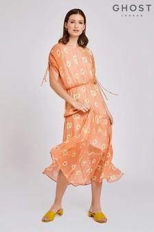 Ghost London Orange Sadie Gingham Daisy Print Georgette Dress