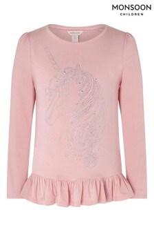 Monsoon Children Pink Zania Hot Fix Unicorn Top