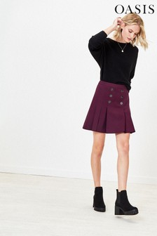 Oasis Purple Button Kilt Skirt
