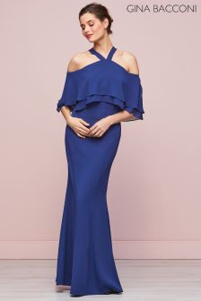 Gina Bacconi Navy Carys Crepe And Chiffon Maxi Dress