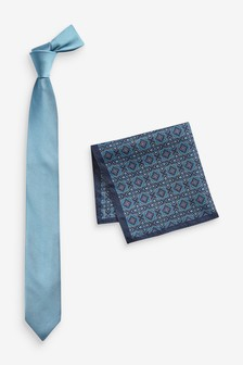 Tie And Pattern Pocket Square Set