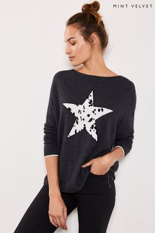 Mint Velvet Charcoal Spot Star Front Knit Jumper