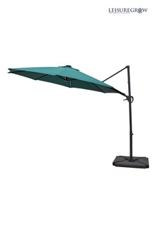 Maple 3m Forest Green Solar Powered Cantilever Parasol By Leisuregrow