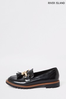 River Island Black Sand Tassel Flat Loafers