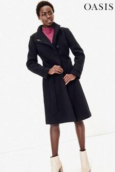 Oasis Blue Carina Long Belted Coat