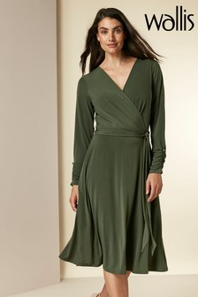 Wallis Khaki Wrap Fit And Flare Dress