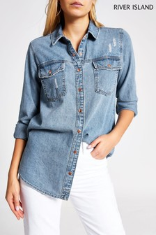 River Island Blue Denim Shirt