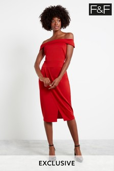 F&F Red Bandeau Midi Dress