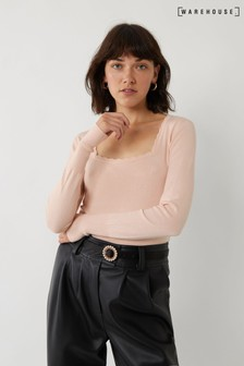 Warehouse Pink Scallop Square Neck Jumper