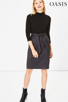 Oasis Grey Tie Belt Pencil Skirt